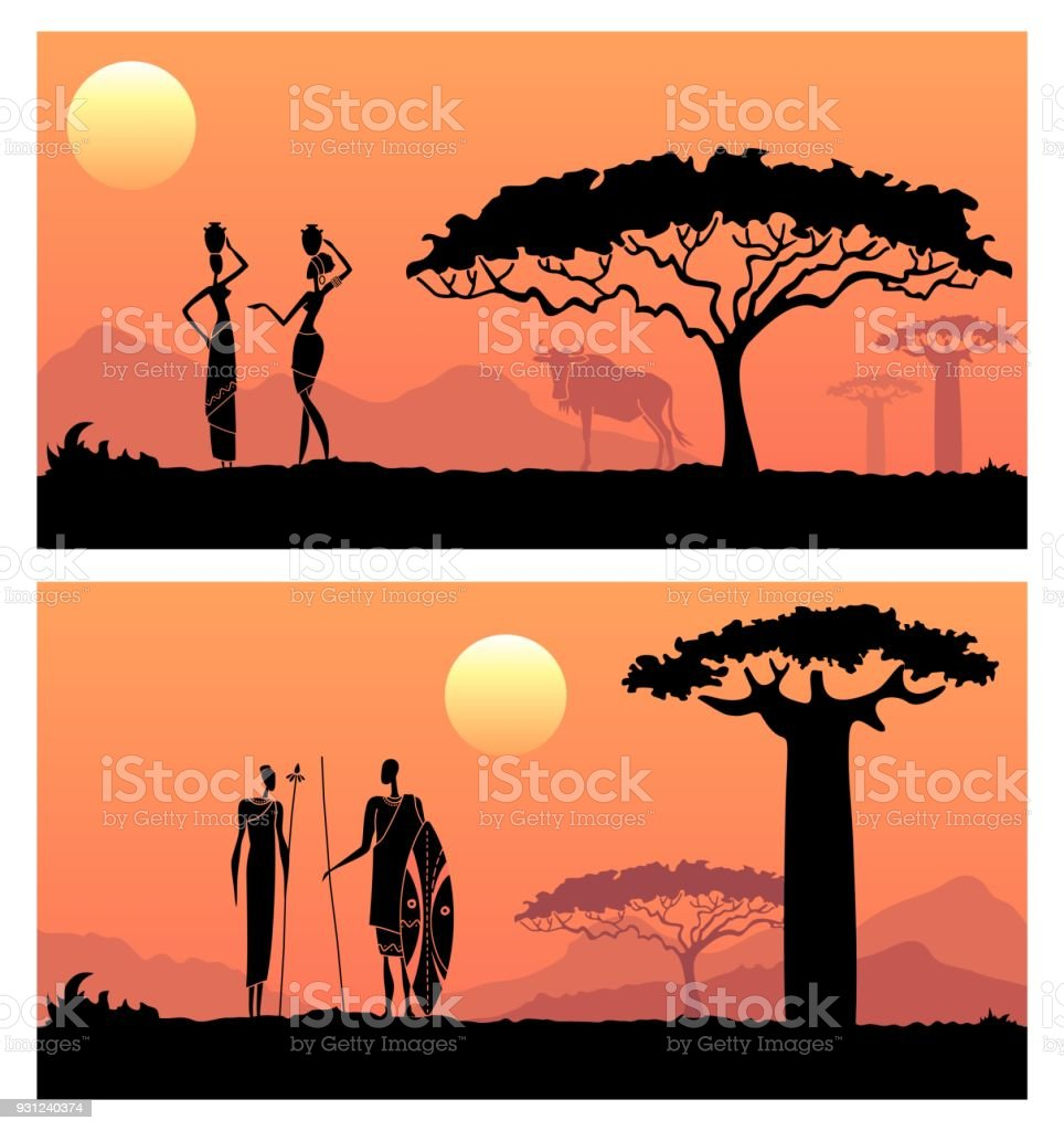 African men and women against the African sunset vector art illustration
