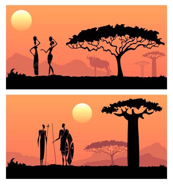 Hombres africanos y mujeres contra la puesta de sol africana - ilustración de arte vectorial