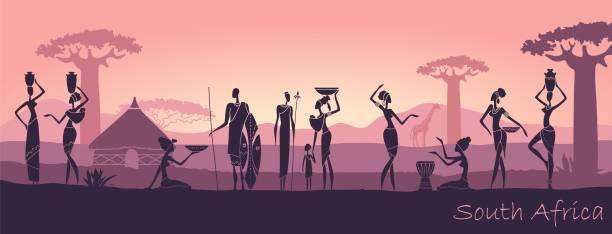 illustrazioni stock, clip art, cartoni animati e icone di tendenza di african men and women against the landscape of africa - bambine africa