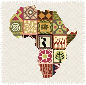 Map of Africa with ethnic style frames.