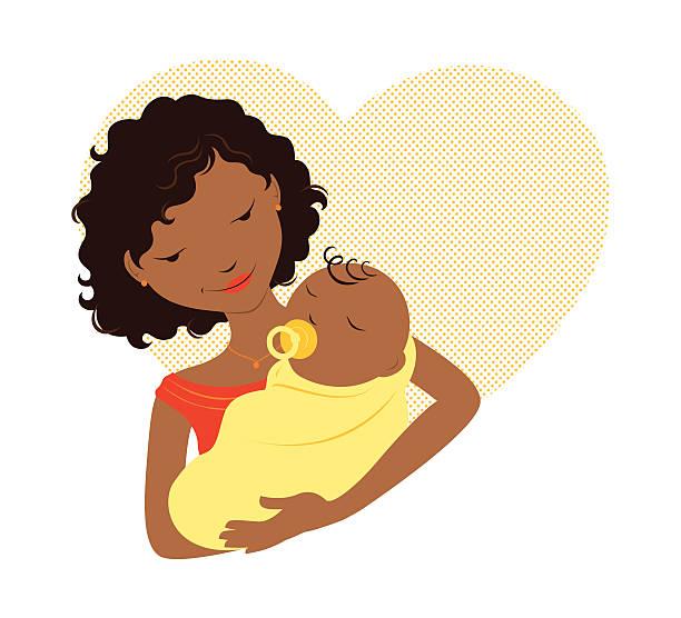Black Mom Baby Illustrations, Royalty-Free Vector Graphics