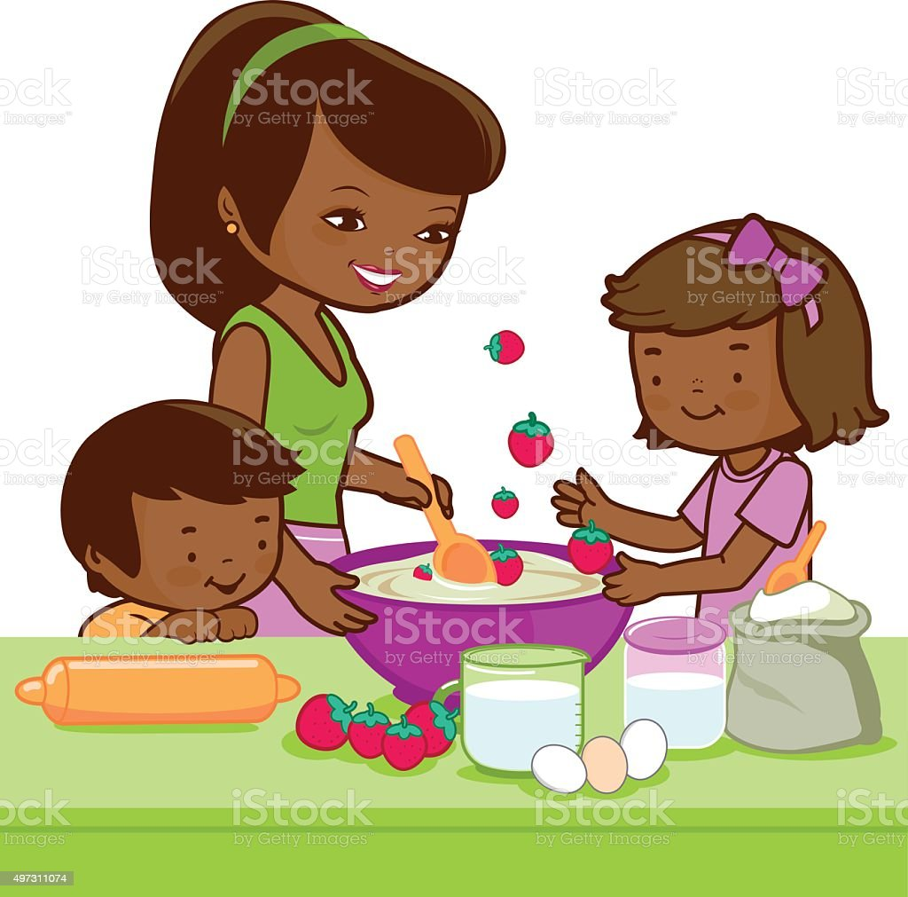 Play kitchen clip art - African Mother And Children Cooking In The Kitchen Royalty Free Stock Vector Art