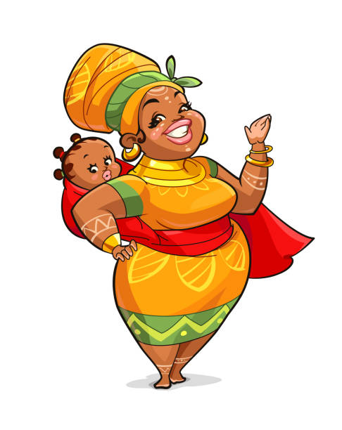 African Mother vector art illustration
