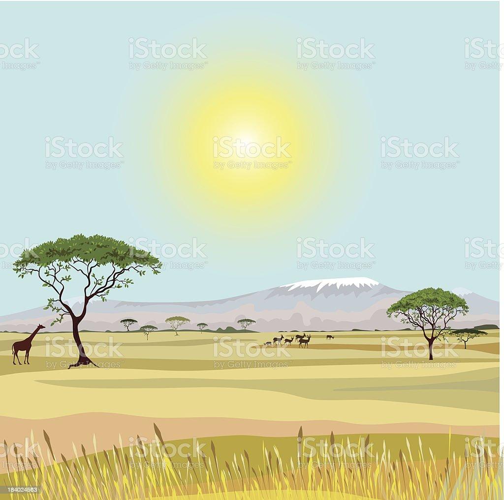 African Mountain idealistic landscape vector art illustration