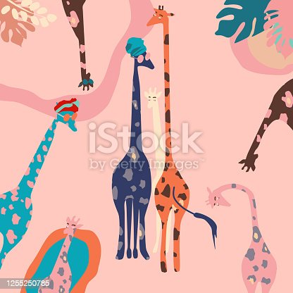 istock African multi-colored giraffes family with sunglasses and turbans. 1255250785