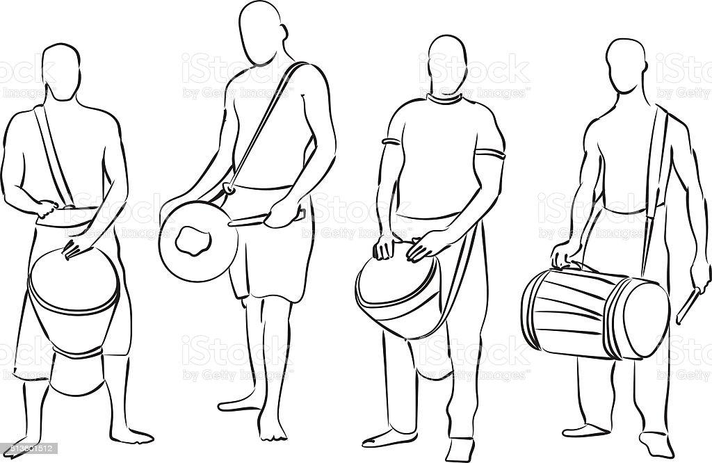 African musician set vector art illustration