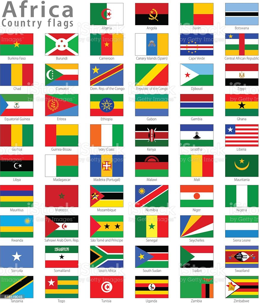 African National flag Vector Icon set vector art illustration