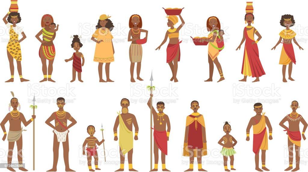 Afrikanische nationale Tribal Outfit Kollektion – Vektorgrafik