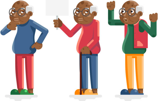 african old man american european adult grandfather characters isolated set flat design vector illustration - old man slippers stock illustrations, clip art, cartoons, & icons