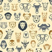 African Animal Faces Pattern