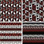 Four seamless patterns in African colors and style.