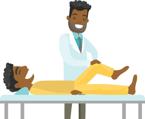 ilustraciones, imágenes clip art, dibujos animados e iconos de stock de africano physio control la pierna de un paciente - medicina del deporte