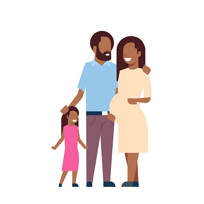 african pregnant mother father daughter full length avatar on white background, successful family concept, flat cartoon