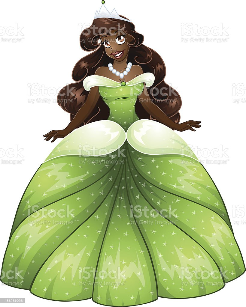 African Princess In Green Dress vector art illustration