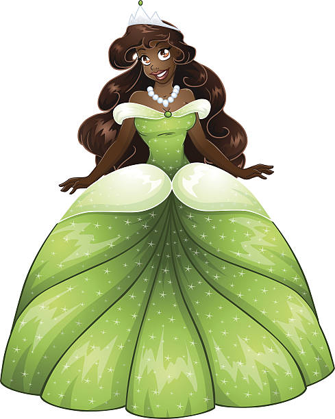 African Princess In Green Dress vector art illustration