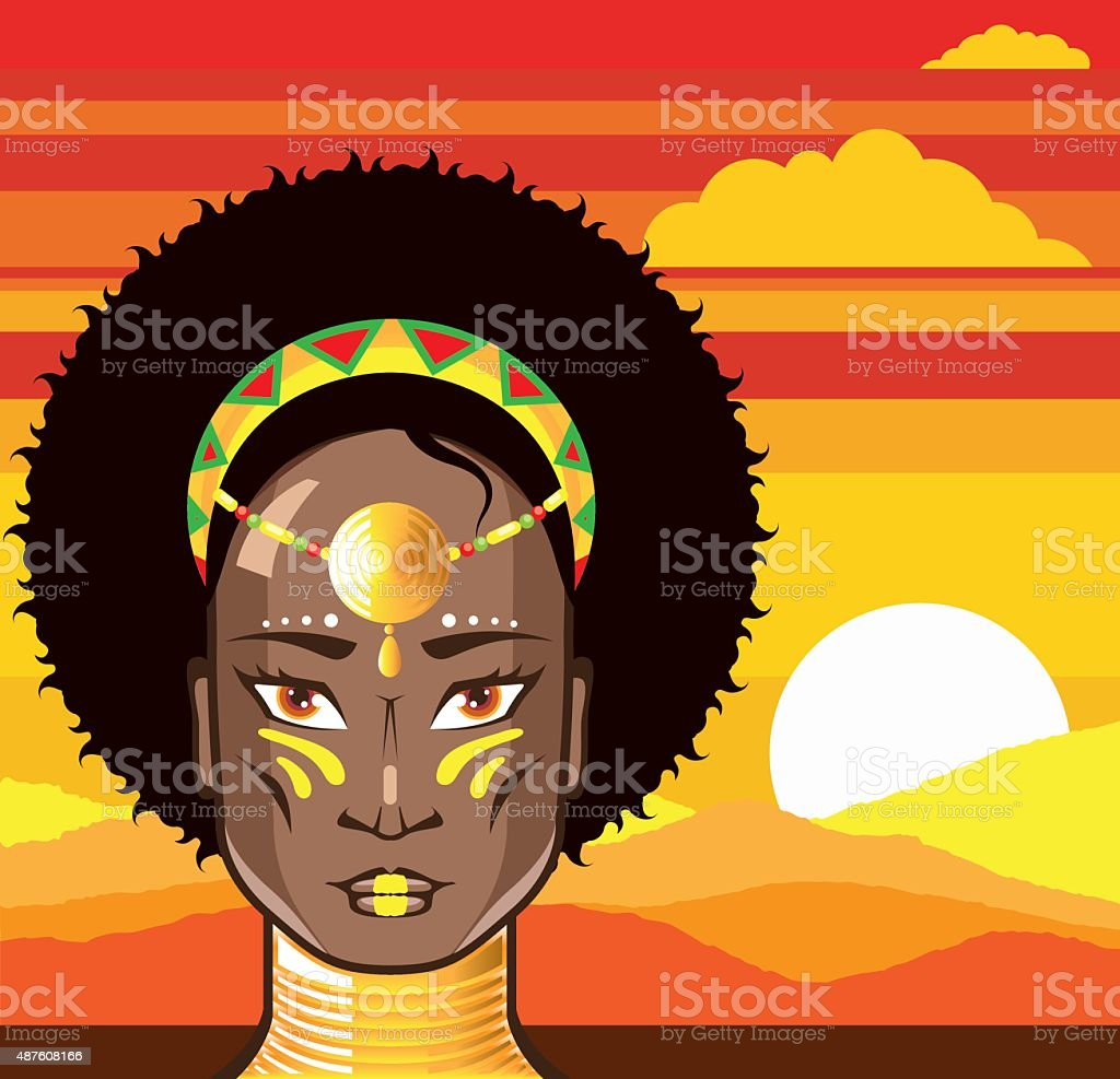 African Princess vector art illustration