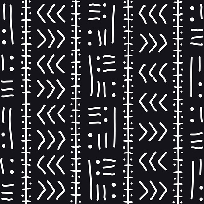 African Print Fabric. Vector Seamless Tribal Pattern. Traditional Ethnic Hand Drawn Ornament for your Design Cloth, Carpet, Rug, Pareo, Wrap