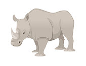 African rhinoceros side view cartoon animal design flat vector illustration isolated on white background.