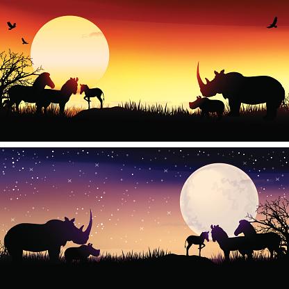 African safari y rinocerontes zebras conjunto de siluetas de ilustraciones