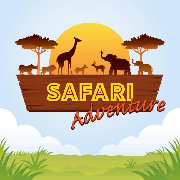 アフリカのサファリの冒険記号 - 動物園点のイラスト素材/クリップアート素材/マンガ素材/アイコン素材