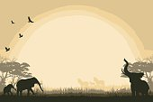 African safari background with elephants and zebras.
