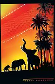 African Safari background with trumpeting elephant, elephant mother and her calf