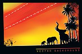 African Safari background with trumpeting elephant, elephant mother and her calf.