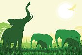 African Safari background with trumpeting elephant, elephant mothers and calfs