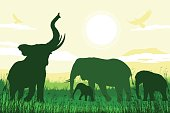 African Safari background with trumpeting elephant, mother and calves