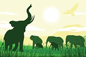 African Safari background with trumpeting elephant, mothers and calves