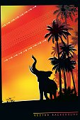 African Safari background with trumpeting elephant