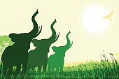 African Safari background with trumpeting elephants
