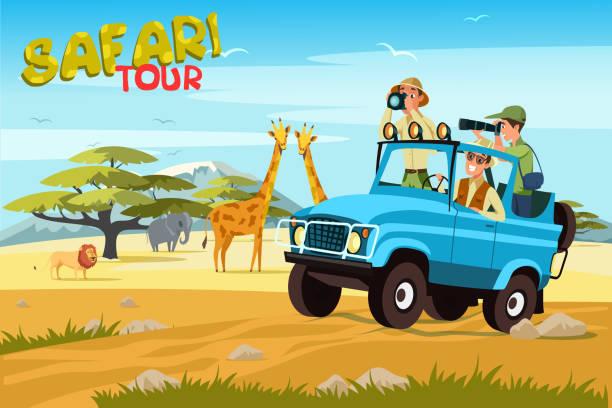 stockillustraties, clipart, cartoons en iconen met afrikaanse safari plat vector banner concept - safari