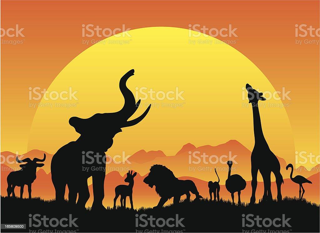 African safari silhouetes in black with sun vector art illustration