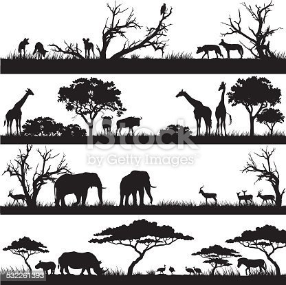 Four panels of african silhouettes with african wild animals in different habitats. Vector EPS10 file.