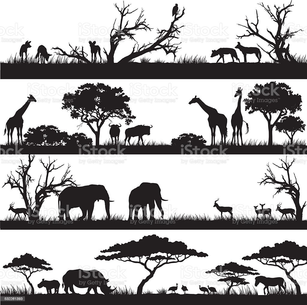 African safari silhouettes vector art illustration