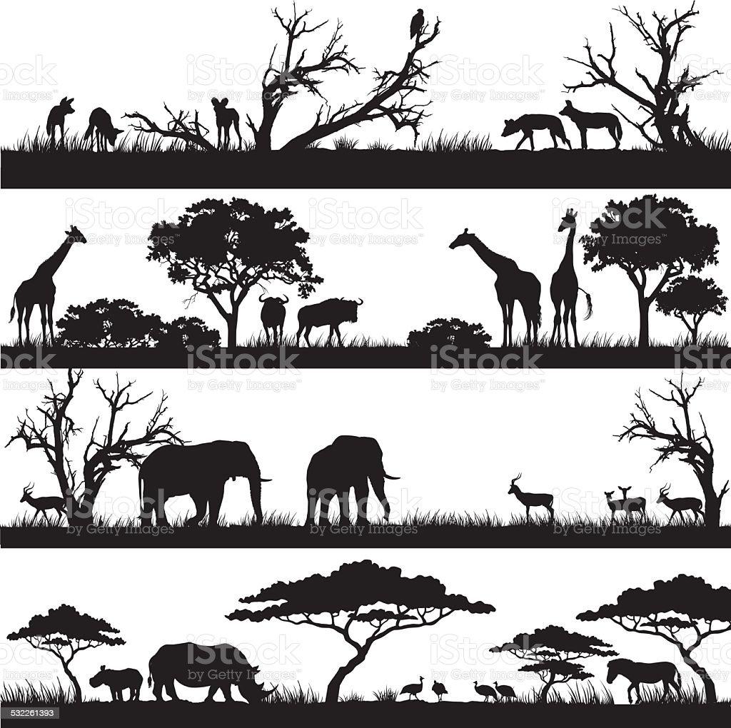 Safári africano silhuetas - ilustração de arte em vetor
