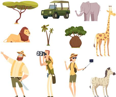 African safari. Wildlife animals travel car kenya jungle characters vector cartoon set