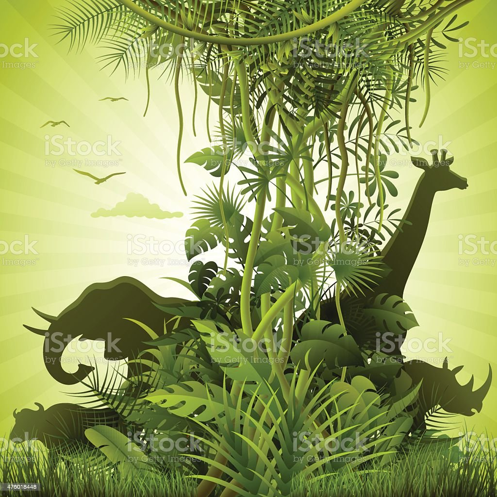 African Savannah vector art illustration