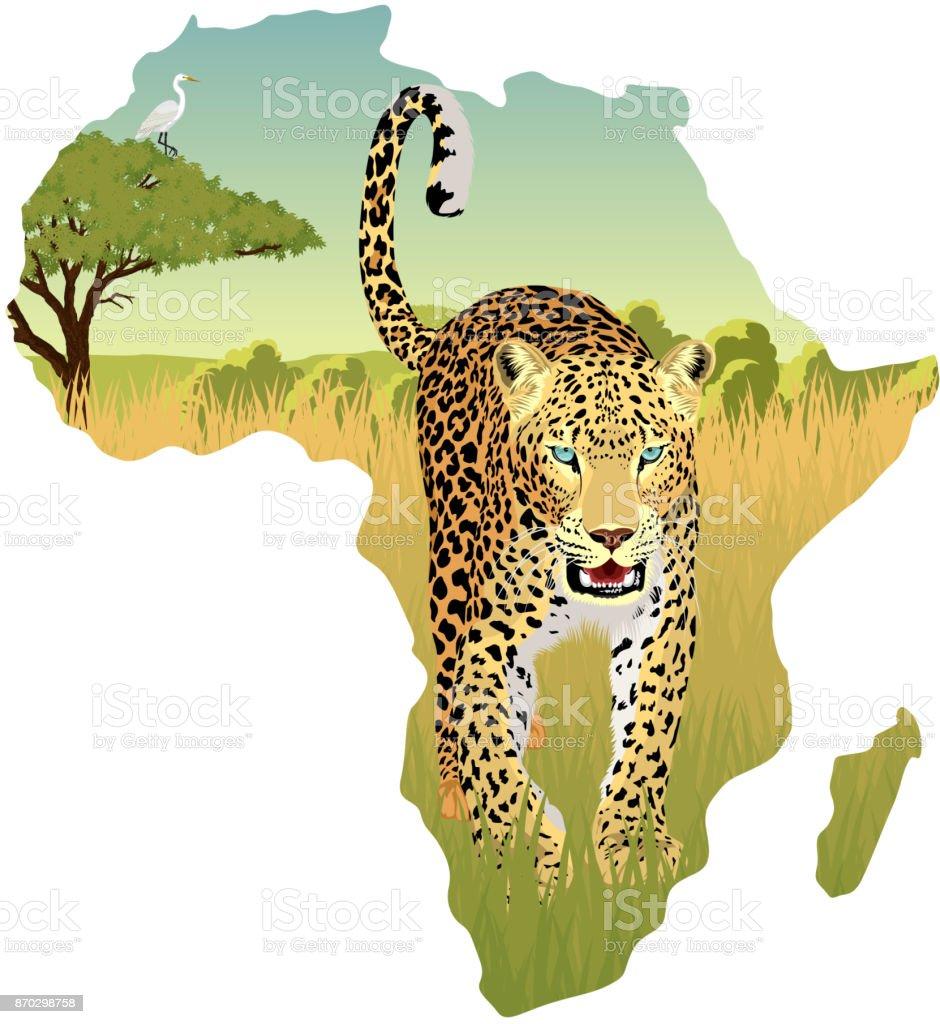 African savannah with heron and leopard - vector illustration vector art illustration