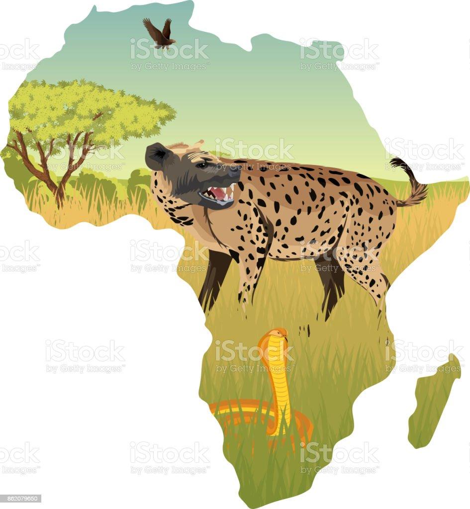 African savannah with hyenna, cobra and eagle - vector illustration vector art illustration