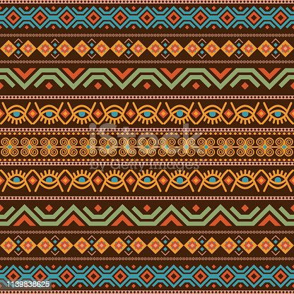 African seamless with adinkra symbols. Antique historical pattern. Vector illustration.