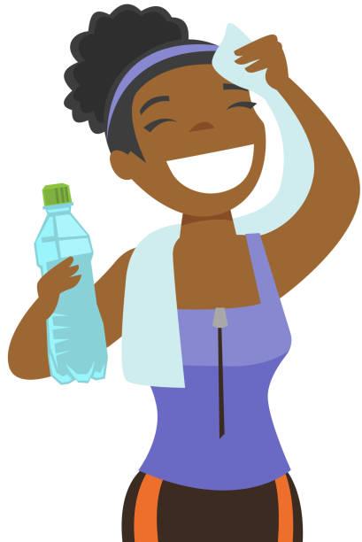 bildbanksillustrationer, clip art samt tecknat material och ikoner med afrikanska idrottskvinna torka svett med en handduk - black woman towel workout