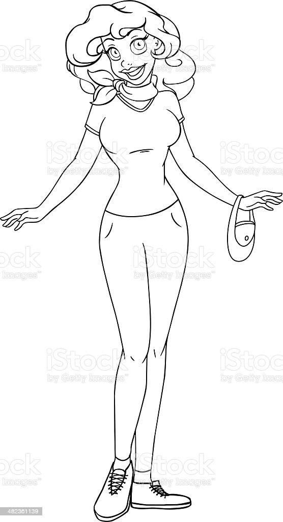 Ilustración de Adolescente Africana En Una Camiseta Y Pantalones ...