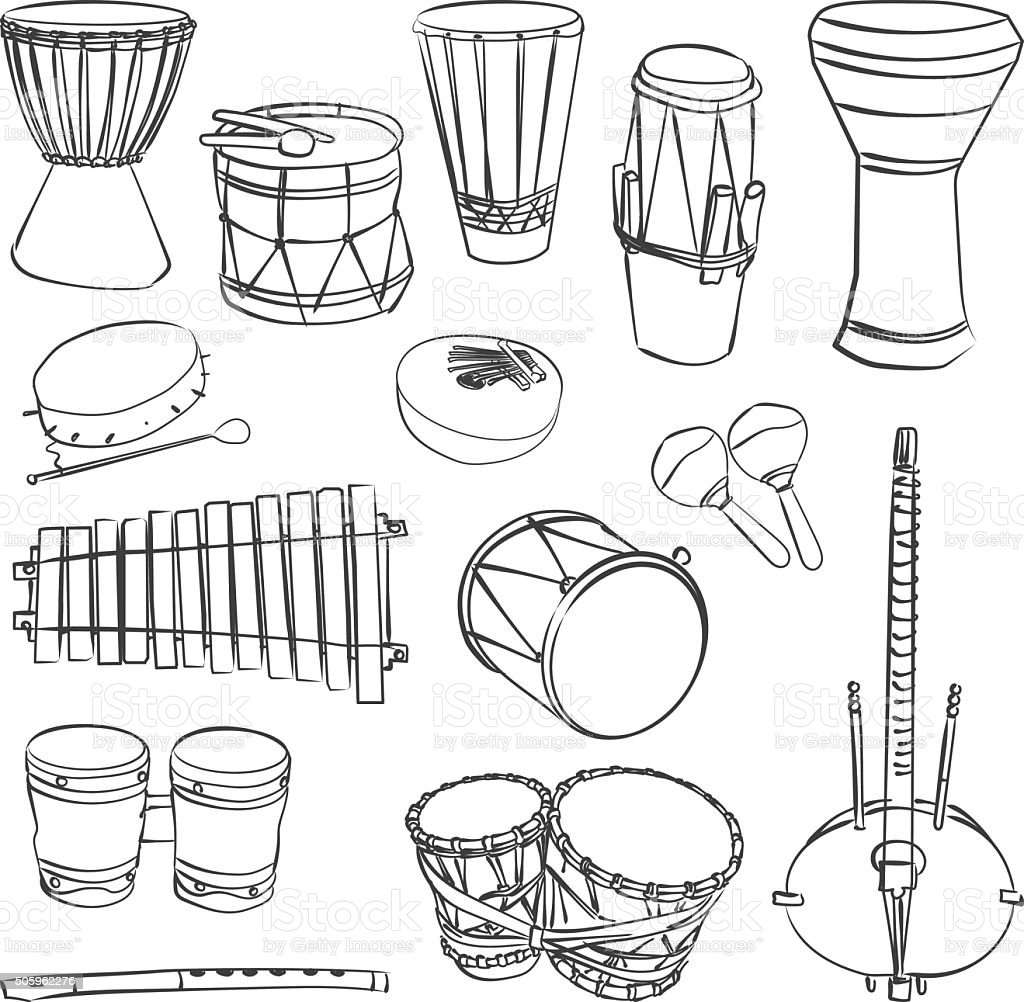 African traditional musical instruments vector art illustration
