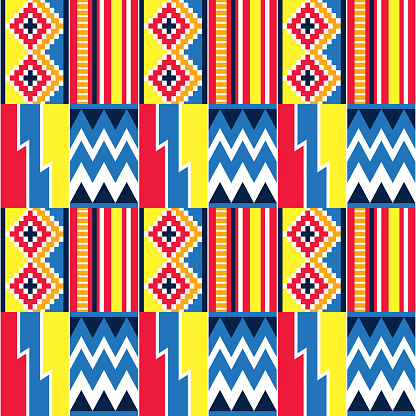 African tribal design Kente nwentoma textile style vector seamless design in blue, red and yellow, geometric pattern inspired by Ghana traditional cloths