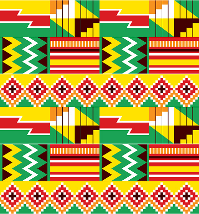 African tribal design Kente nwentoma textiles style vector seamless design, zigzag geometric pattern inspired by Ghana traditional cloths