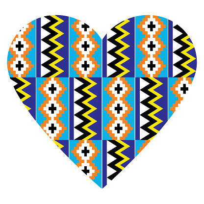 African tribal heart design Kente nwentoma textiles style vector pattern, retro design with geometric shapes inspired by Ghana traditional clothing