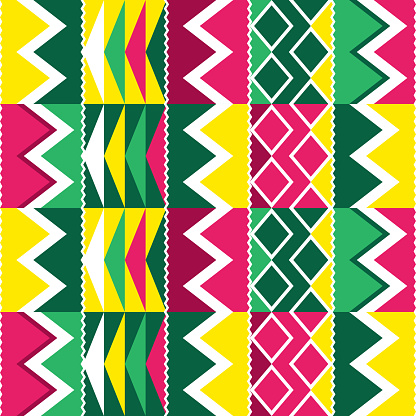 African tribal Kente cloth style vector seamless textile or fabric print pattern, traditional vertcial geometric nwentoma design from Ghana in green and pink