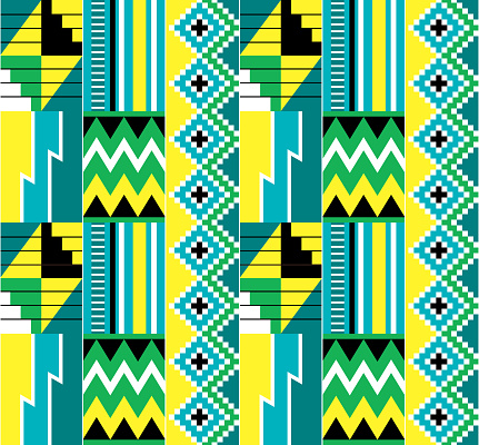 African tribal Kente cloth style vector seamless textile pattern, traditional geometric nwentoma design from Ghana